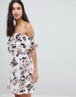 Parisian Off Shoulder Ruffle Mini Dress In Floral Print