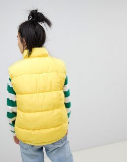 Pull&bear padded gilet in yellow 1
