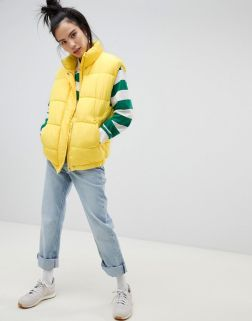 Pull&bear padded gilet in yellow 3