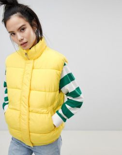 Pull&bear padded gilet in yellow