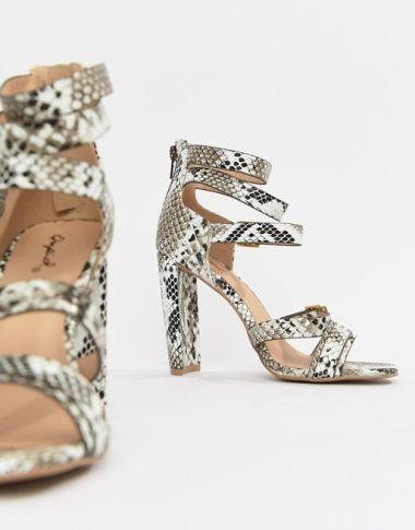 QUPID Heeled Snake Sandals 1