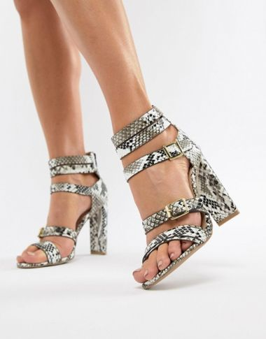 QUPID Heeled Snake Sandals