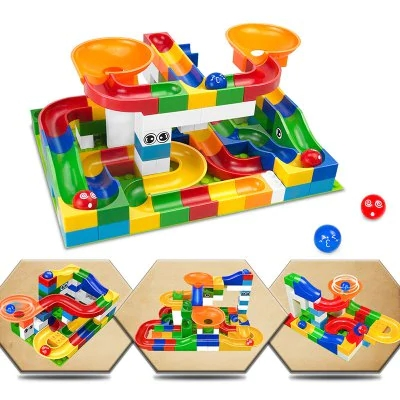 Race Run Maze Balls Track Building Blocks Educational Bricks Toy 52pcs - MULTI