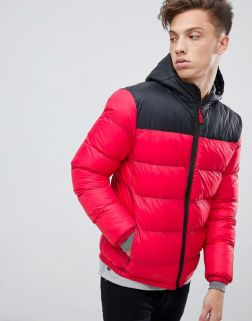 Tokyo Laundry Panelled Puffer Jacket with Hood