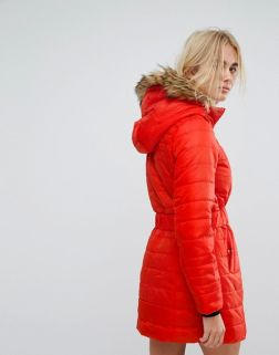 Vero Moda Padded Parka With Faux Fur Hood 1