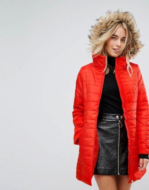 Vero Moda Padded Parka With Faux Fur Hood