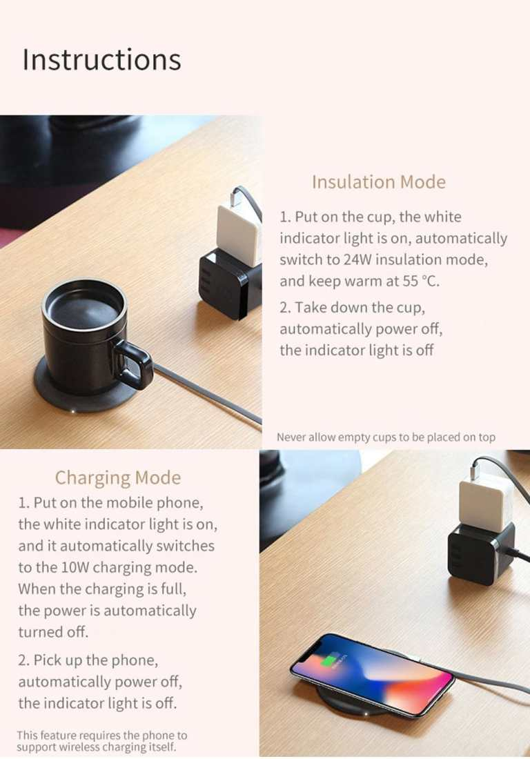 Wireless Charging Mug Electric Ceramic Cup for Home from Xiaomi Youpin8