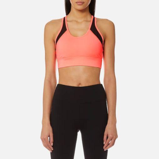 DKNY Sport Women's Mesh Insert V-Neck Bra Top - Vibrant Pink
