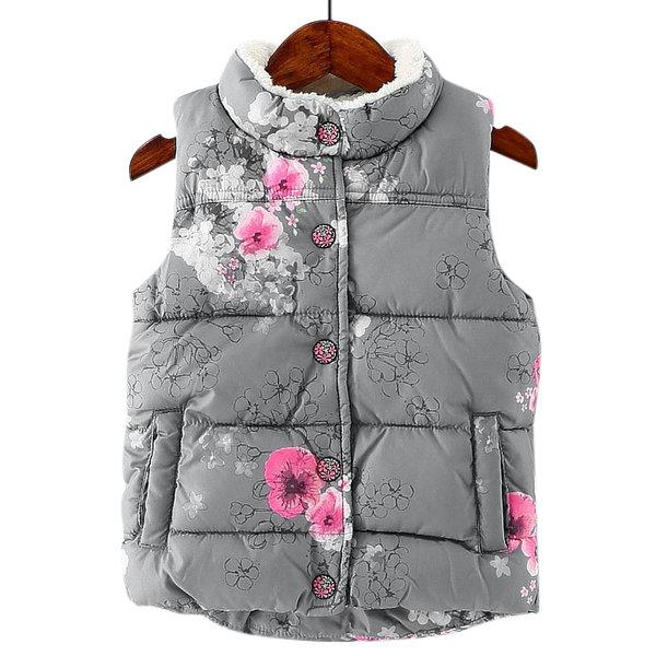 Winter Girls Waistcoat Thick Fleece Kids Floral Warm Vests For 3-11 Years.jpg