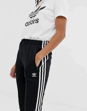adidas Originals adicolor three stripe cigarette pant in black 1