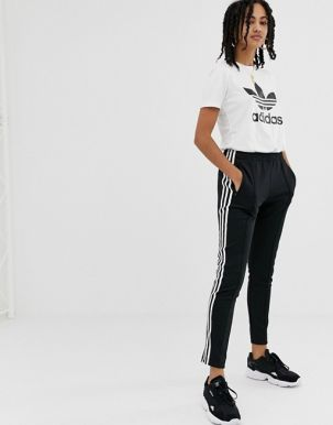 adidas Originals adicolor three stripe cigarette pant in black