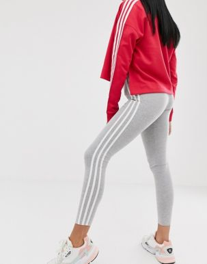 adidas Originals adicolor three stripe leggings in grey heather 1