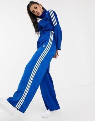 adidas Originals Bellista paper bag trousers in blue