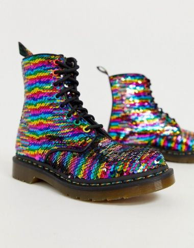 Dr Martens 1460 Pascal boots in rainbow sequin