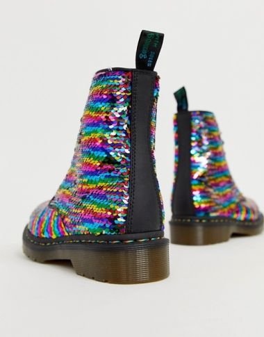 Dr Martens 1460 Pascal boots in rainbow sequin2