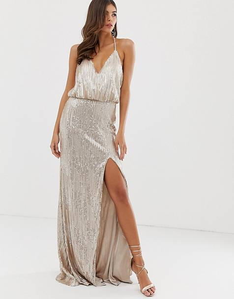Forever Unique sequin prom maxi gown in champagne