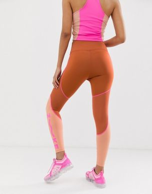 Nike Training one tight with mesh panel in peach 1