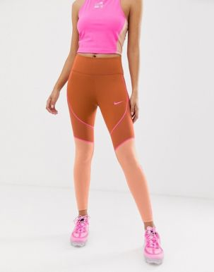 Nike Training one tight with mesh panel in peach