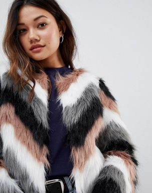 Brave Soul crissy coat in wave effect faux fur1