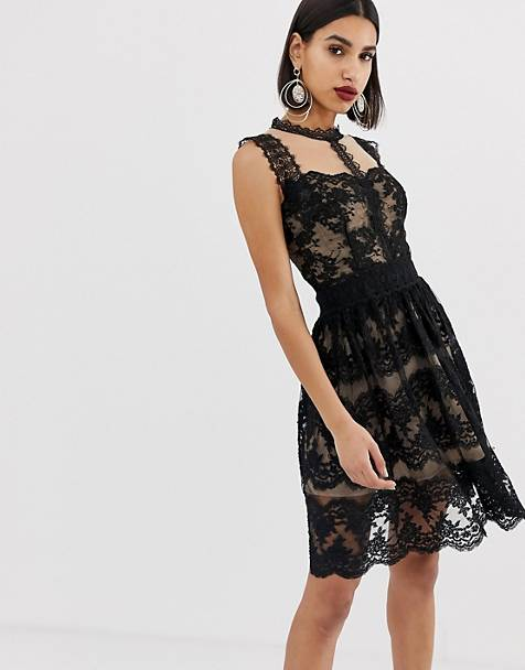 Bronx & Banco Annabell lace detail mini dress