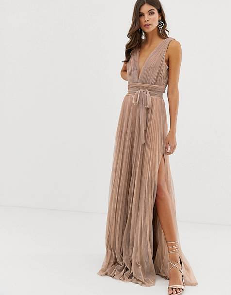 Forever Unique plisse prom maxi dress in rose gold